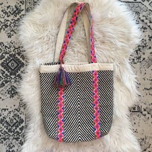 Tribal Woven Embroidered Tote Beach Bag